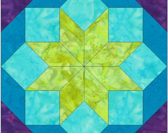Original Rolling Star 15 Inch Block Paper Template Quilting Block Pattern PDF