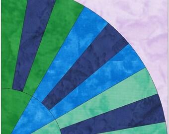 Silk Rainbow Fan Paper Template Quilting Block Pattern PDF