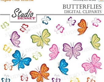 30% OFF SALE Butterfly Clipart, Butterflies Illustration. Colorful Insect Clip Art Pack C193