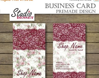 30% OFF SALE Printable Business Card, Premade Design, Shabby Chic Lace Business Cards, Floral Design BC02