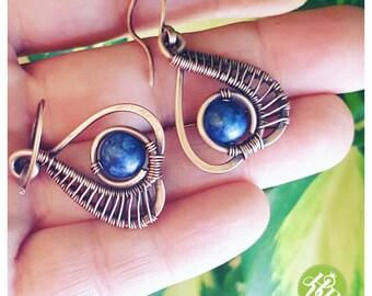 Royal lapis earring copper earring lapis lazuli earring gemstone jewelry handmade  earring wire wrapped earring copper jewelry wire
