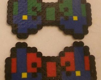 Mario and Luigi perler bow