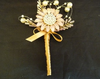 Dusky pink flower brooch boutonnier with ivory pearls and gold bead 'leaves with gold ribbon - Grooms boutonniere - Wedding buttonhole