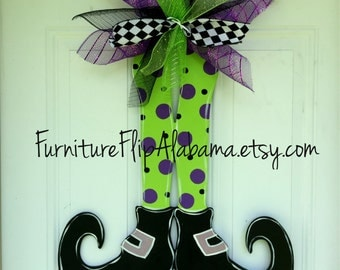 Halloween Wreath,Witch legs door hanger,Halloween door hanger,witch legs wreath, personalized halloween door hanger,Halloween  door decor