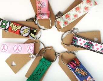 Fabric keyrings with charms, keyfobs, accessories, superhero, skulls, flowers