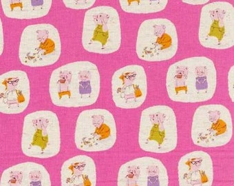 Heather Ross Nursery Versery - FQ Hit Pink Little Pigs Went to Market Fabric