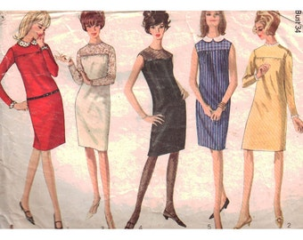 Simplicity Sewing Pattern 6270 Misses' Dress with detachable Collar and Cuffs - estimated vintage 1960's  Size:  14  Bust 34  Used