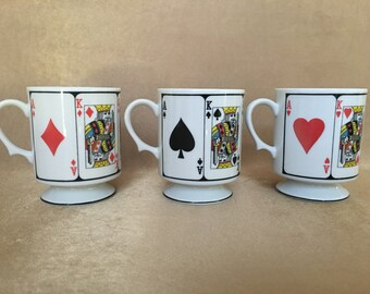 Card Suite Mugs, Playing Cards Mug, Spades Mug, Poker Coffee Cups, Pedestal Style, Playing Card Mugs, Hearts, Diamonds, Spades, Mid Century