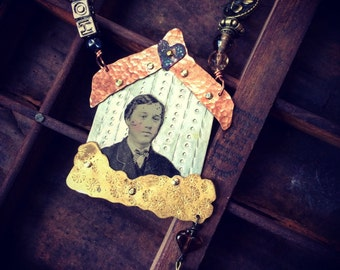 Man at Home Tin Type Photo Necklace