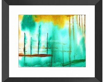 Piers Art Print. Abstract Art, Modern Art, Abtract Painting, Green Painting, Green Decor, Green Wall Art, Home Decor, Watercolor Painting