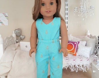 American girl doll turquoise pineapple jumper