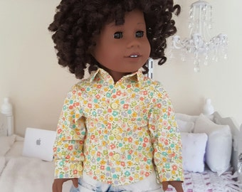 18 inch doll floral button-up shirt
