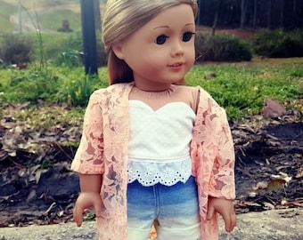 american girl doll peach kimono and ombre shorts