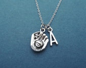 Personalized, Letter, You are my best catch, Necklace, Baseball, Gloves, Love, Customized, Letter, Necklace, Love, Friendship, Gift, Jewelry