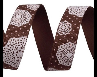 Cotton tape 16 mm - Designblumen Brown