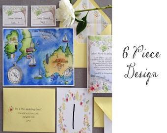 6 Piece Custom Design - Custom Wedding Invitation Design - watercolor wedding invitations - wedding watercolor suite