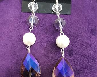 Purple Crystal and Pearl  Earrings