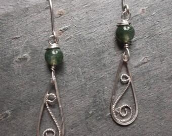 Sterling Silver Filigree Single Bead Rhyolite Earrings