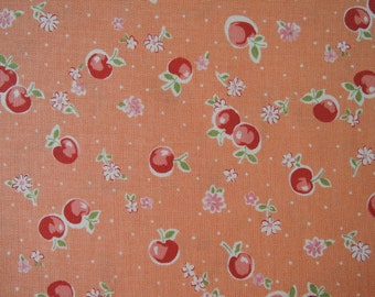 "Fat Quarter of Yuwa Atsuko Matsuyama 30's Collection Apples, Floral and Dots Fabric in Orange. Approx. 18"" x 22"" Made in Japan."