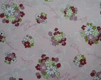 "Half Yard of 2016 Lecien Old New 30's Collection Spring Bouquets on Pink Background. Approx. 18"" x 44"" Made in Japan"