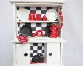 Miniature Dollhouse Cabinet Black and White Dollhouse Kitchen Cupboard