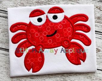 Crab Boy Summer Beach Machine Applique Design