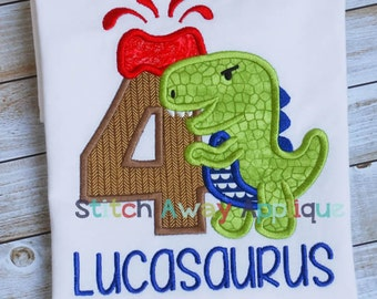 Dinosaur Volcano Birthday Number Set Machine Applique Design