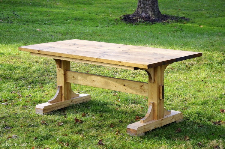 rustic farmhouse trestle dining room table