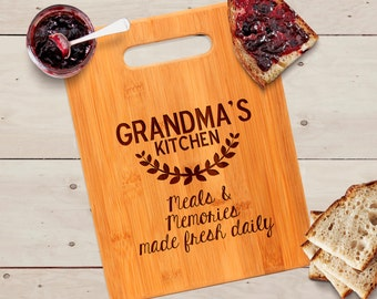 Grandma's Kitchen Cutting Board - Personalized Gift for Grandma - Bamboo Cutting Board