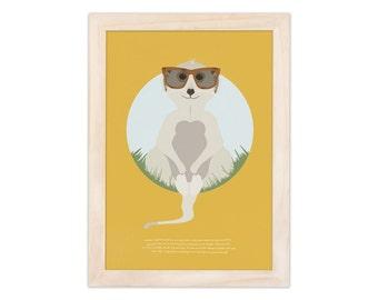 Art print - meerkat | children - nursery | A4 - 8.27 x 11.69 inches