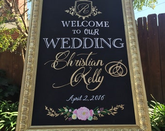 welcome wedding sign framed chalk art with gold frame 24x36