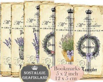 French Lavender Bookmarks Instant Download digital collage sheet E092 Vintage Paper Flowers
