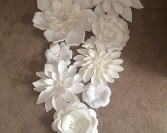 White Paper Flowers - Arch or wall decor