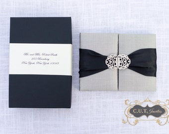 Wedding Invitation - Black and Silver Silk Box Luxury - Couture Event Invitation - Custom Colors Available