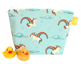 Large Make up Bag Cosmetic Bag Wash Bag Unicorns and Rainbows Aqua Handmade Zippered Pouch Waterproof Wet Bag Nappy