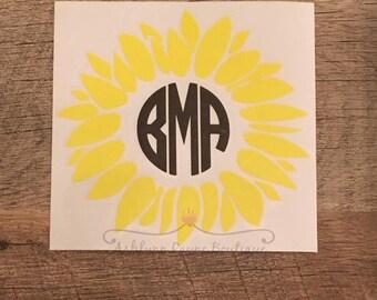 Decal- Sunflower Monogram Decal- Car Decal- Yeti Decal- Sunflower Decal- Monogram Decal