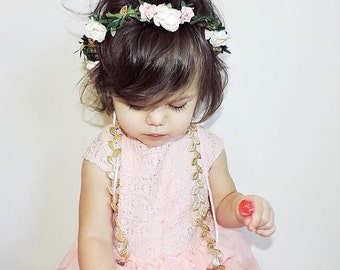 Baby Flower Crown - Ivory, Pink, Gold, Flower Girl Crown, Baby Halo, Bridal Flower Crown, Baby Photo Prop, Boho Flower Crown, Boho Halo