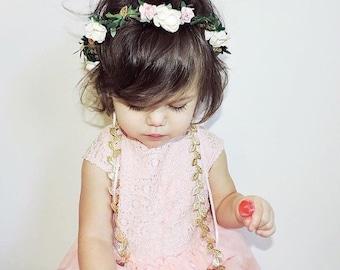 Baby Flower Crown - Ivory, Pink, Gold, Flower Girl Crown, Baby Halo, Bridal Flower Crown, Baby Photo Prop, Boho Flower Crown, Boho Halo