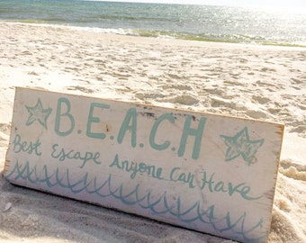 BEACH sign- Beach Quote- Beach Decor- Beach Wall Art- Beach House Decor- Beach Art- Inspirational Quote- Coastal Decor- Beach House Sign