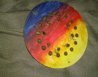 Abstract  painted brooch