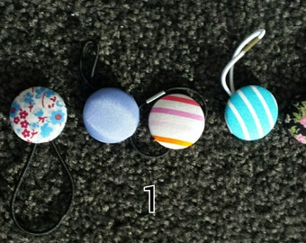 Fabric covered button hair ties