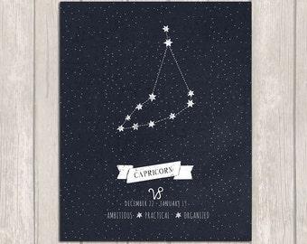 Capricorn Constellation Art, Astrology Printable, Capricorn Zodiac, Zodiac Capricorn, Capricorn Star Sign, Digital Download