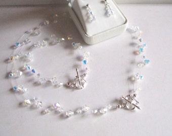Swarovski illusion wedding jewelry set Swarovski crystal bridal necklace bracelet and earrings set AB or clear crystal jewelry set jewellery