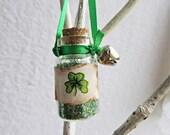 Irish St Patricks Day Bottle, Good Luck in a Bottle, Lucky Charm, Green Glitter Bottle,