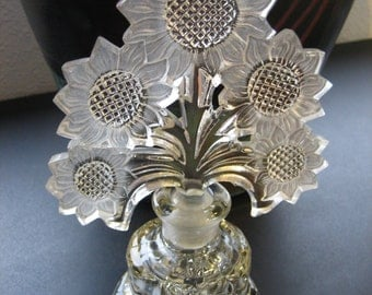 "Vintage 1940's Irice Frosted Sunflower Stopper Perfume Bottle-8"" Tall"