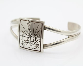 Vintage Gastineau Studio Cuff With Boat and Sun Motif in Sterling Silver. [7453]