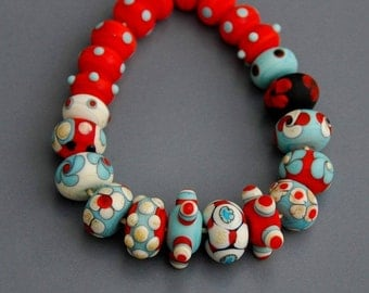 Etched lampwork bead set  Dots#2