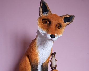 Mickey and his mouse, a handmade paper clay papier mache sculpture of a fox cub and a mouse
