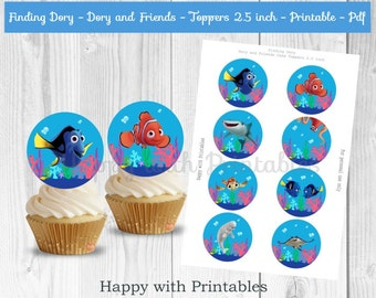 Finding Dory Cupcake Toppers - Dory cupcake toppers - Finding Dory cake toppers - Dory toppers 2.5 inch - Dory - Nemo - Hank - Bailey - Ray