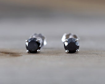 14k Solid White Gold Black Diamond Earring Studs Post Push Back Square